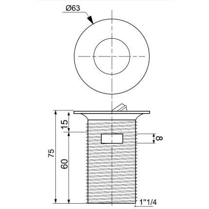 Ventil alama cromat Wirquin PRO 75mm cu dop rotativ anti-vandal, cu preaplin