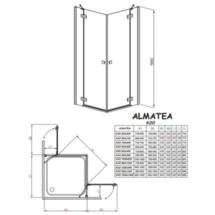Cabina de dus dreptunghiulara Radaway Almatea KDD 90x90cm