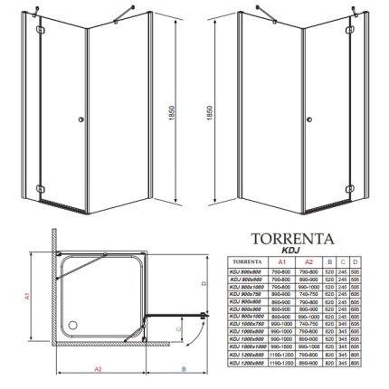 Cabina de dus dreptunghiulara asimetrica Radaway Torrenta KDJ 80x90cm usa stanga