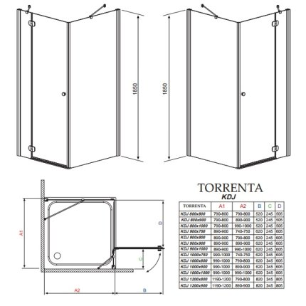 Cabina de dus dreptunghiulara asimetrica Radaway Torrenta KDJ 90x100cm usa stanga