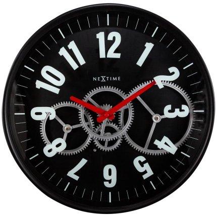Ceas de perete NeXtime Modern Gear 36cm, negru
