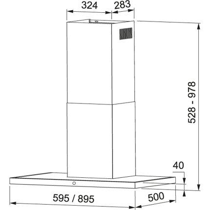 Hota decorativa Franke Arno 90 XS/BK, 90cm, 530 mr/h, Clasa A+, inox satinat - cristal negru