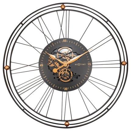 Ceas de perete NeXtime Roman Gear XXL 90.5cm, negru-auriu