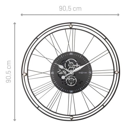 Ceas de perete NeXtime Roman Gear XXL 90.5cm, negru-argintiu
