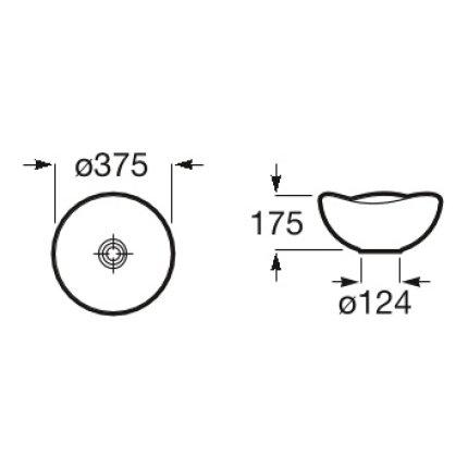Lavoar tip bol Roca Ohtake 37.5x37.5cm, onix