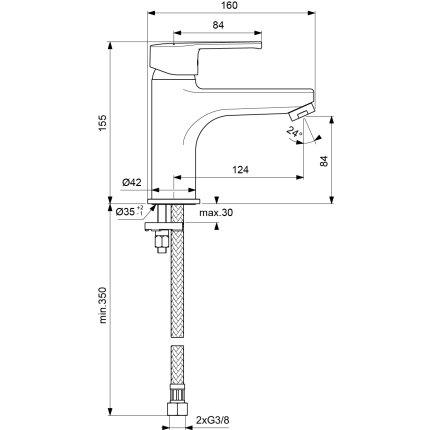 Baterie lavoar Ideal Standard IdealStream Grande, fara ventil
