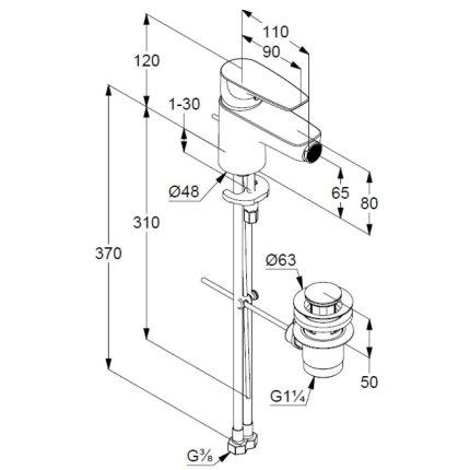 Baterie bideu Kludi Pure&Solid, ventil metalic pop-up