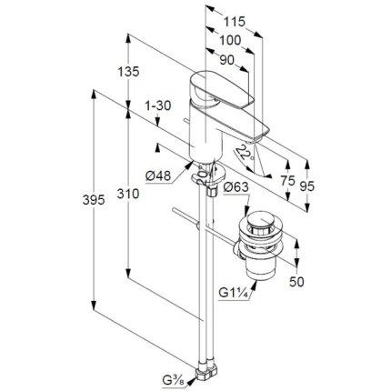 Baterie lavoar Kludi Pure&Solid 75, ventil metalic pop-up
