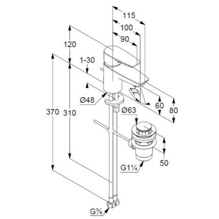 Baterie lavoar Kludi Pure&Solid 60, ventil metalic pop-up