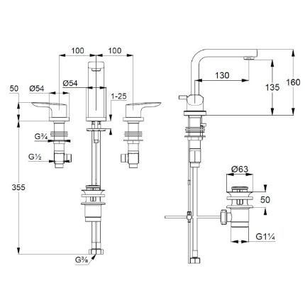 Baterie lavoar Kludi Pure&Solid din 3 elemente, ventil metalic pop-up