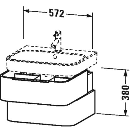 Dulap baza Duravit Happy D.2 57x48cm, 2 sertare inchidere lenta, stejar inchis
