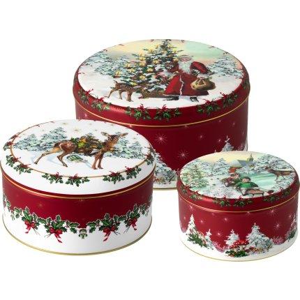 Set 3 cutii cu capac Villeroy & Boch Winter Collage S Cookie box