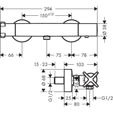 Baterie dus termostatata Hansgrohe Axor Citterio E