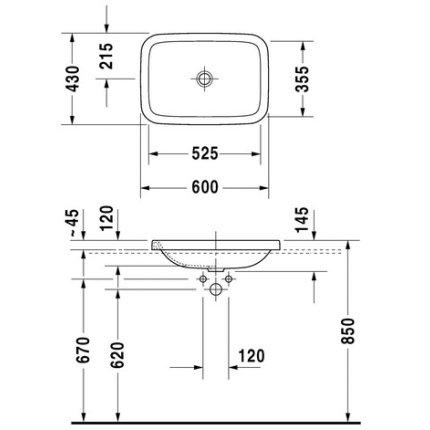 Lavoar Duravit Durastyle 60x43cm, fara orificiu baterie, fara preaplin, montare in blat
