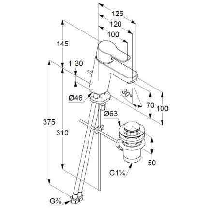 Baterie lavoar Kludi Pure&Easy 70, ventil pop-up