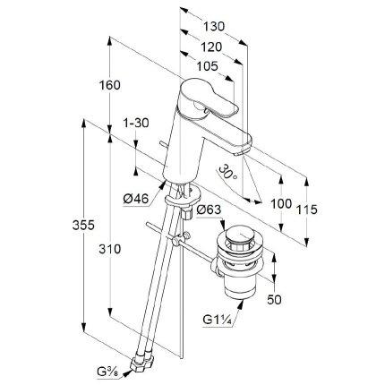 Baterie lavoar Kludi Pure&Easy 100, ventil metalic pop-up, crom