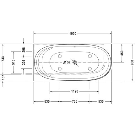 Cada asimetrica cu hidromasaj Duravit Cape Code 190x90 cm orientare stanga, alb