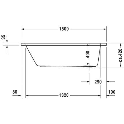 Cada rectangulara cu hidromasaj Duravit D-Code 150x75 cm cu Jet Project, acril, alb
