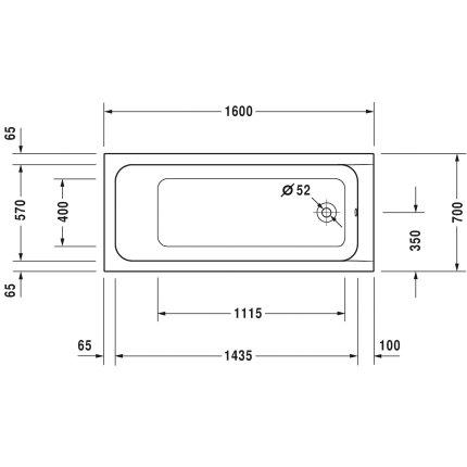 Cada rectangulara cu hidromasaj Duravit D-Code 160x70 cm cu Jet Project, acril, alb