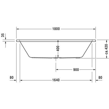 Cada rectangulara cu hidromasaj Duravit D-Code 180x80 cm cu Jet Project, acril, alb