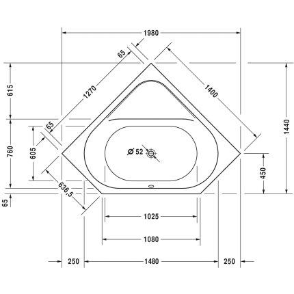 Cada de colt cu hidromasaj Duravit D-Code 140x140 cm cu Jet Project, acril, alb