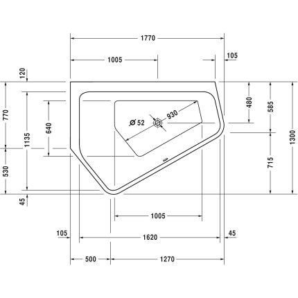 Cada asimetrica cu hidromasaj Duravit Paiova 5 177x130 cm cu Combi-System P, orientare stanga, alb