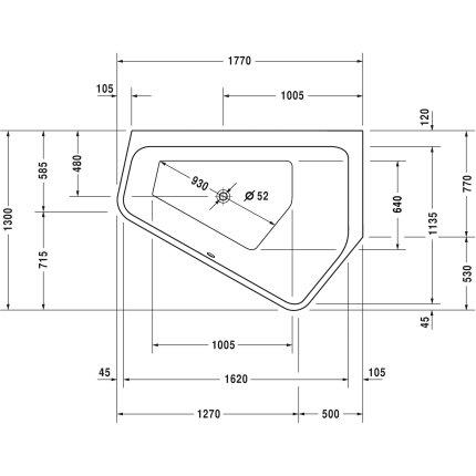 Cada asimetrica cu hidromasaj Duravit Paiova 177x130cm cu sistem Combi L