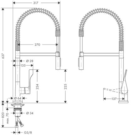 Baterie bucatarie Hansgrohe Axor Citterio SemiPro, pipa flexibila