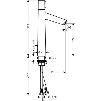 Baterie lavoar Hansgrohe Talis Select S 190, ventil pop-up, pentru lavoar tip bol