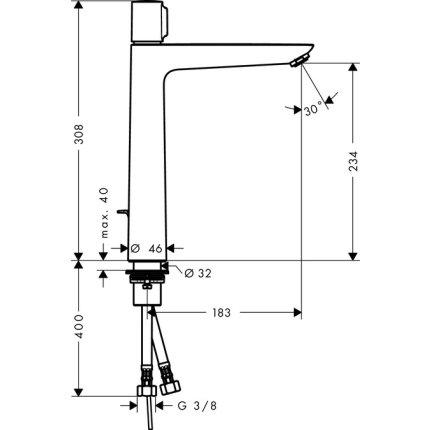 Baterie lavoar Hansgrohe Talis Select E 240, ventil pop-up, pentru lavoar tip bol