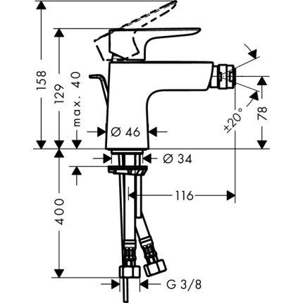 Baterie bideu Hansgrohe Talis E cu ventil pop-up