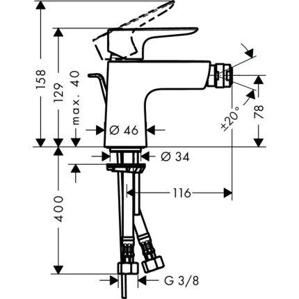 Baterie bideu Hansgrohe Talis E cu ventil pop-up, negru mat