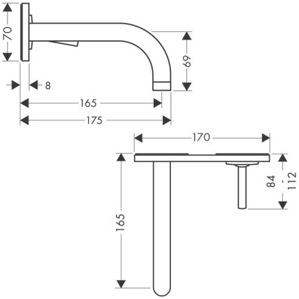 Baterie lavoar Hansgrohe Axor Uno levier joystick de perete, pipa 165mm, fara ventil, montaj incastrat, necesita corp incastrat