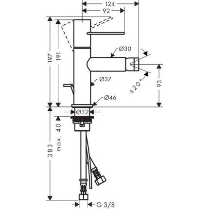 Baterie bideu Hansgrohe Axor Uno, ventil pop-up