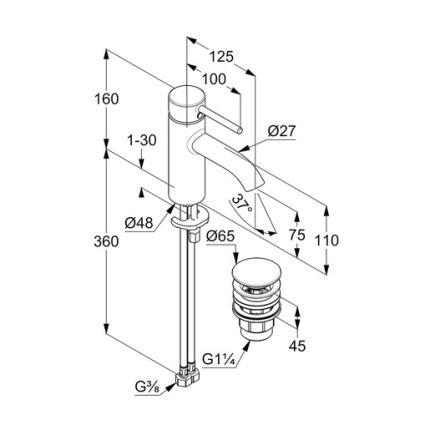 Baterie lavoar Kludi Bozz 75 cu ventil push-open, crom