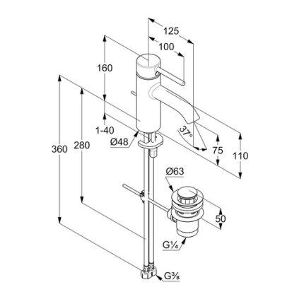 Baterie lavoar Kludi Bozz 75 cu ventil metalic pop-up, crom
