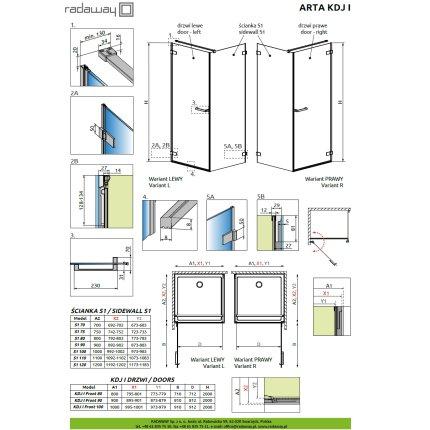 Usa de dus Radaway Arta KDJ I 80cm cu deschidere stanga, profil Chrome+