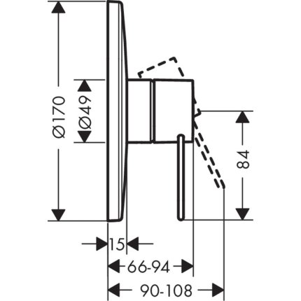 Baterie dus Hansgrohe Axor Uno montaj incastrat, necesita corp incastrat