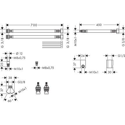 Set montaj pentru baterie Hansgrohe Axor cu 3 elemente