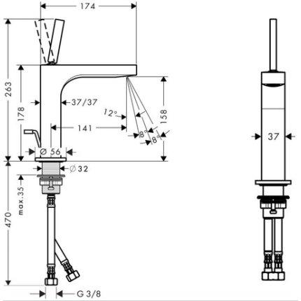 Baterie lavoar Hansgrohe Axor Citterio 180, ventil pop-up