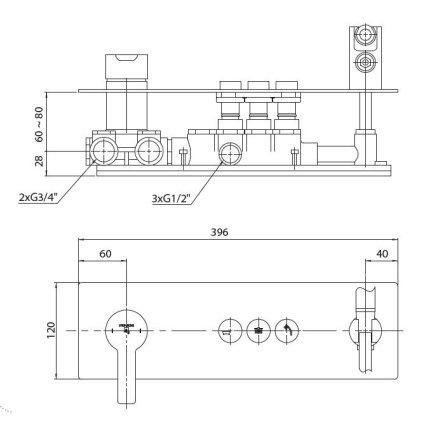 Baterie de cada Steinberg seria 390 cu 3 cai, Pushtronic, para si furtun de dus, montaj incastrat, corp ingropat inclus