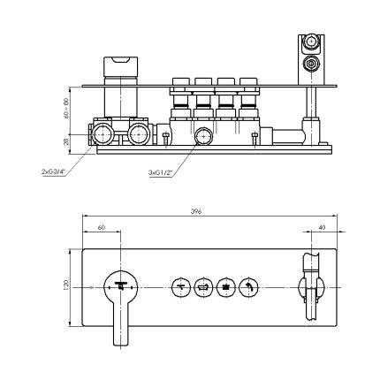 Baterie de cada Steinberg seria 390 cu 4 cai, Pushtronic, para si furtun de dus, montaj incastrat, corp ingropat inclus