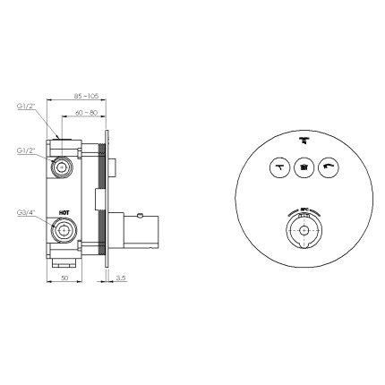 Baterie de cada termostatata Steinberg seria 390 Round cu 3 cai, Pushtronic, montaj incastrat, corp ingropat inclus