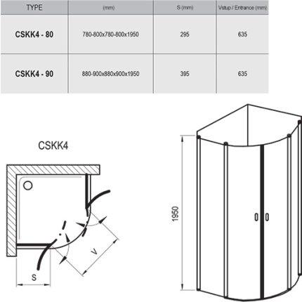 Cabina de dus semirotunda Ravak Concept Chrome CSKK4-80, 80x80cm, alb