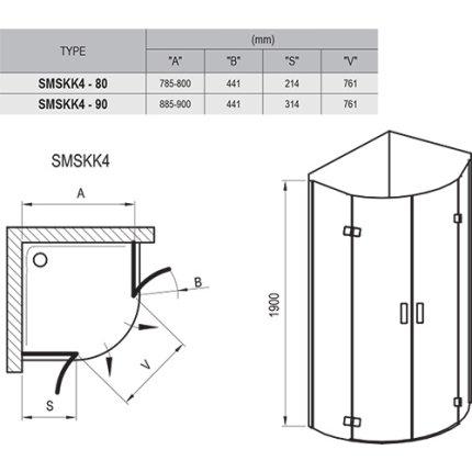 Cabina de dus semirotunda Ravak SmartLine SMSKK4 90x90cm, crom