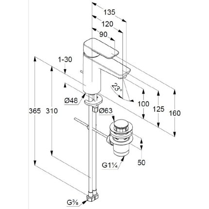 Baterie lavoar Kludi Pure&Style 100, ventil metalic pop-up