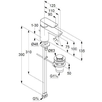 Baterie lavoar Kludi Pure&Style 75, ventil metalic pop-up