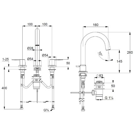 Baterie lavoar Kludi Pure&Style din 3 elemente, ventil metalic pop-up