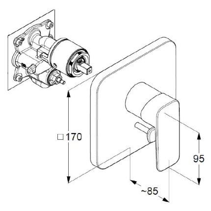 Baterie cada Kludi Pure&Style cu montaj incastrat, necesita corp ingropat Flexx.Boxx