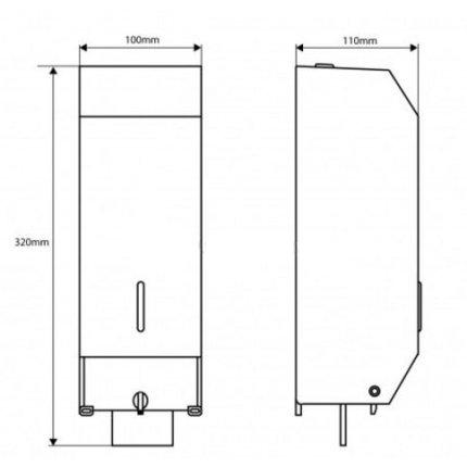 Dispenser sapun lichid Bemeta Hotel otel inoxidabil crom mat 100 x 320 x 110 mm, 1100 ml